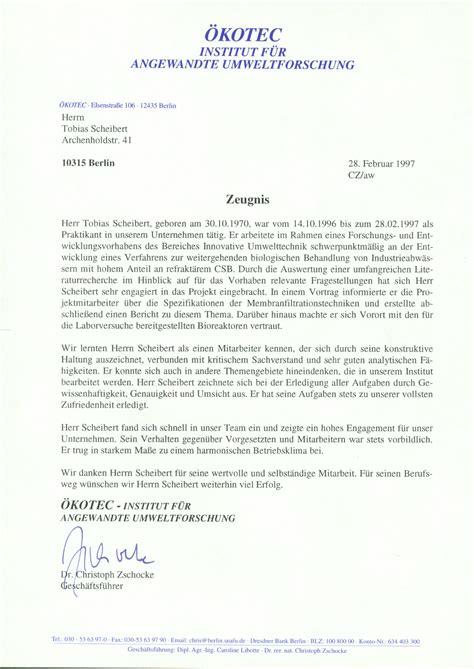 Letter Of Recommendation Zeugnis lebenslauf tobias scheibert