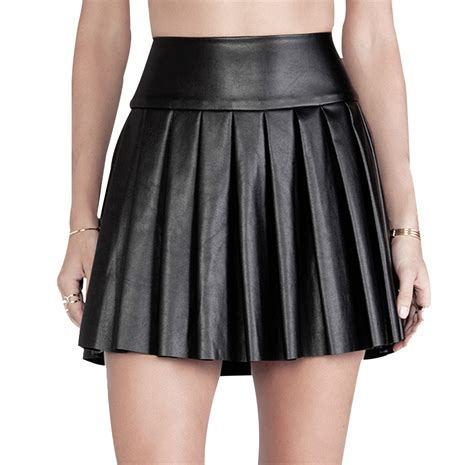 free shipping fashion pleated pu leather skirt with