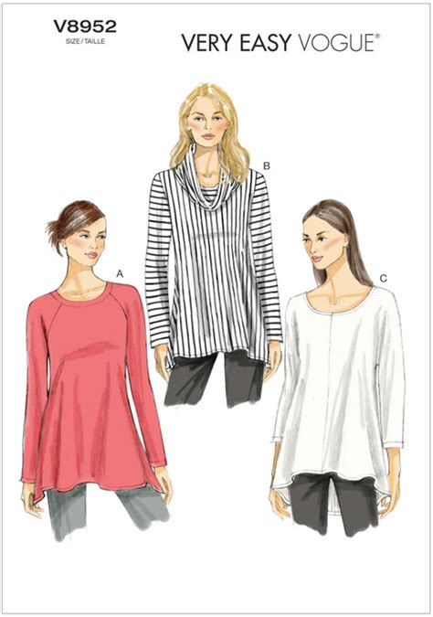 sewing pattern vogue uk misses tunic vogue pattern 8952 sew essential
