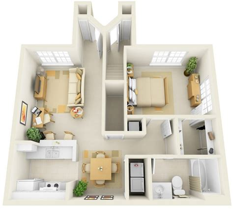 One Bedroom Apts | 1 bedroom apartment house plans