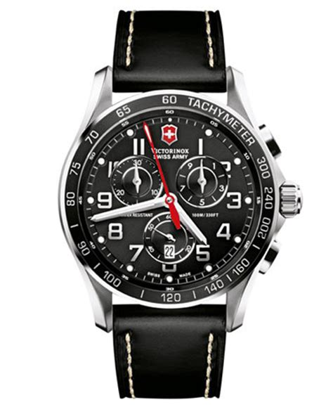 Swiss Army Date Chrono Black Leather Grade A victorinox swiss army s chronograph classic xls black leather 45mm 241444