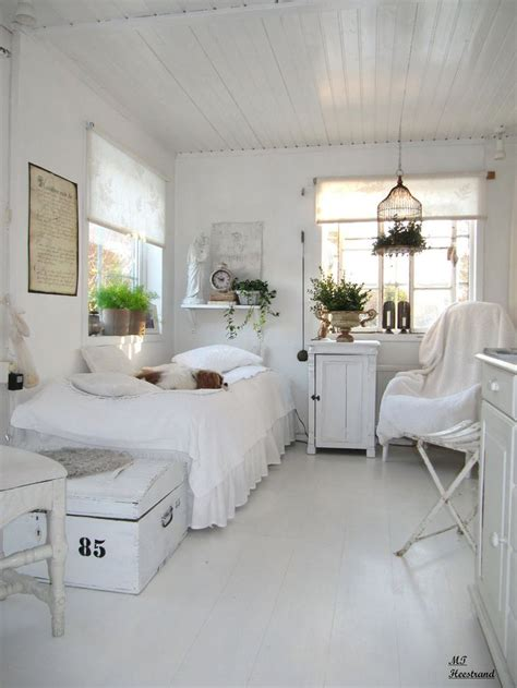 guest bedroom white grey black chippy shabby chic whitewashed cottage french country
