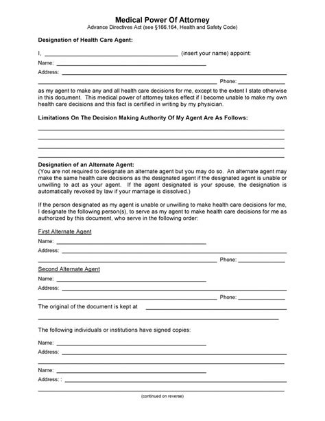 free texas medical power of attorney form pdf template