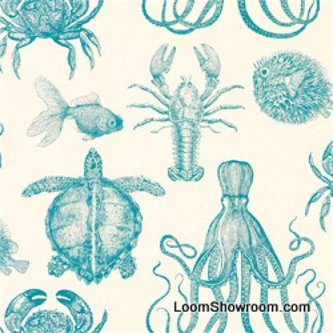 sea life upholstery fabric thomas paul sealife lobster crab octopus turtle
