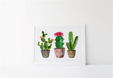 Family Wall Art Stickers cactus art print succulent print watercolor cactus print
