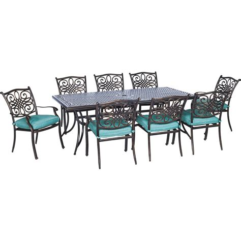 Patio Dining Set Cover Hanover Traditions Bronze Aluminum 9 Outdoor Patio Dining Set With Protective Cover And