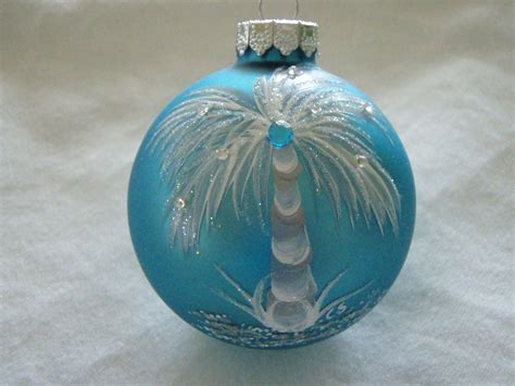 painted christmas balls tropical painted turquoise glass ornament