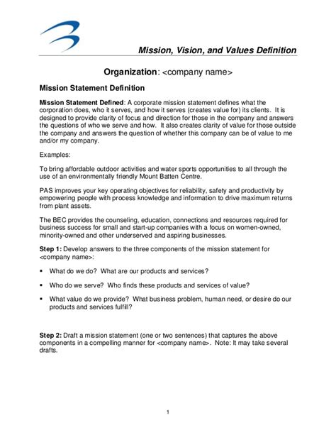Mission Vision And Values Template Business Vision Document Template