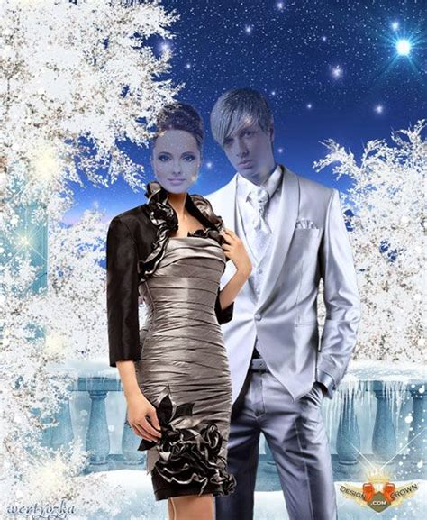 photoshop template of costume shiny winter template with glamour and stylish couple