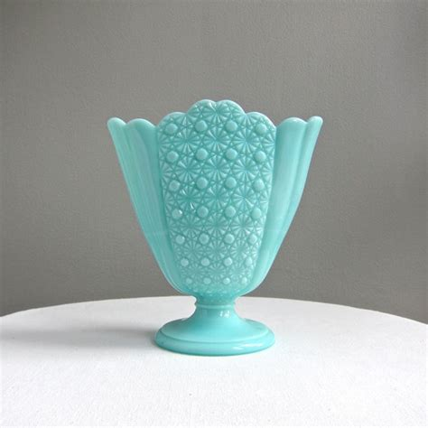 Blue Milk Glass Vase by Turquoise Blue Milk Glass Fan Vase And Button Pattern
