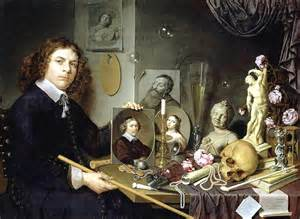 vanitas still with a portrait of a painter by