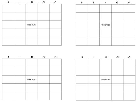 free printable blank bingo cards template 6 best images of printable bingo card template