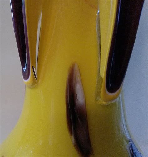 yellow and burgundy four finger russian glass vase