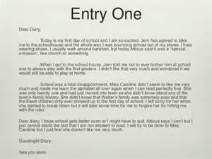 to kill a mockingbird diary entry s