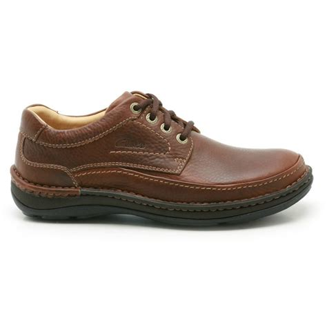 clarks mens nature three mahogany leather shoes