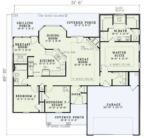 split bedroom ranch floor plans