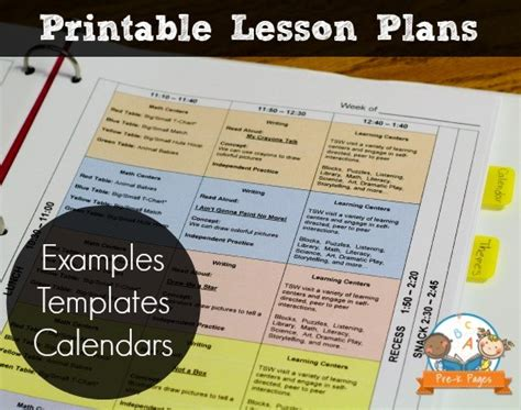 electronic lesson plan template printable lesson plans for preschool pre k and