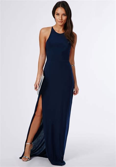 Kode Barang Maxi Nora Df s navy slit maxi dress silver leather heeled sandals silver leather clutch silver