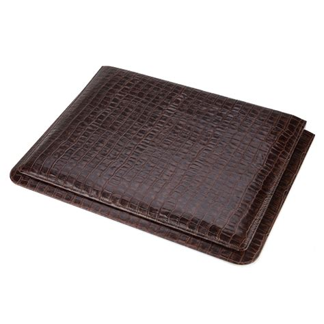 large desk blotter plata lappas crocodile leather brown large desk blotter