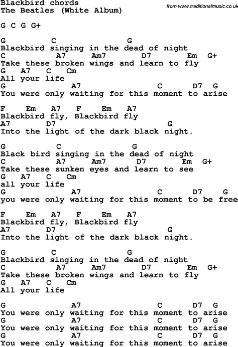 song on a hill traces of black and blue books song lyrics with guitar chords for blackbird the beatles