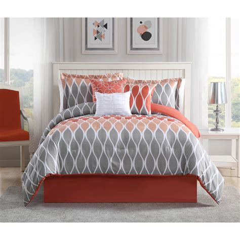 coral queen bedding clarisse coral grey white 7 piece full queen comforter set