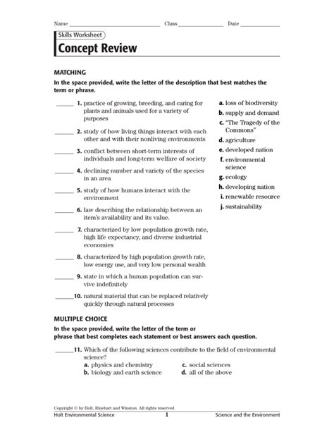 Skills Worksheet Concept Review Section The Development Of