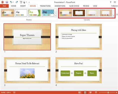 powerpoint design variants super themes in powerpoint 2013 for windows