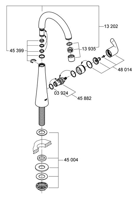 grohe kitchen faucet parts diagram grohe europlus 33853