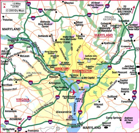 washington dc map surrounding areas map of washington dc area