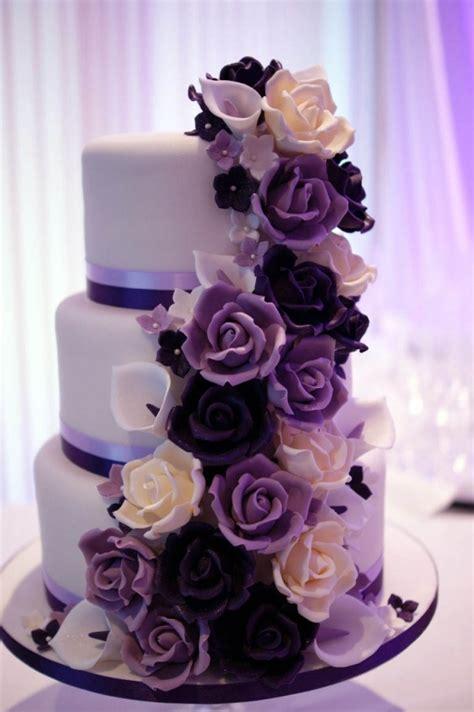 Wedding Cake Purple by Purple Cascade Wedding Cake Bakealous
