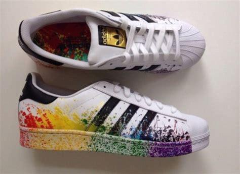 shoes rainbow adidas adidas superstars black and white white black trainers addias
