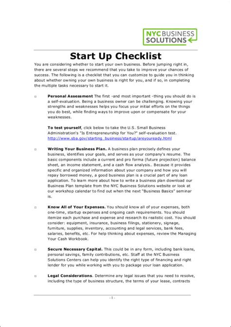 Business Start Up Checklist Sle Templates Business Startup Checklist Template