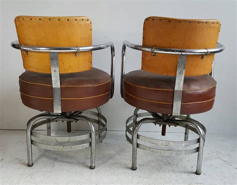 Swivel Armchairs For Sale by American Deco Machine Age Tubular Chrome Swivel Armchairs For Sale At 1stdibs