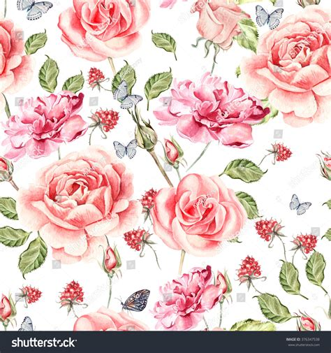 watercolor roses pattern seamless watercolor pattern roses anemones peony stock
