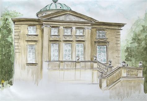 neoclassical architecture in watercolor phototric arts