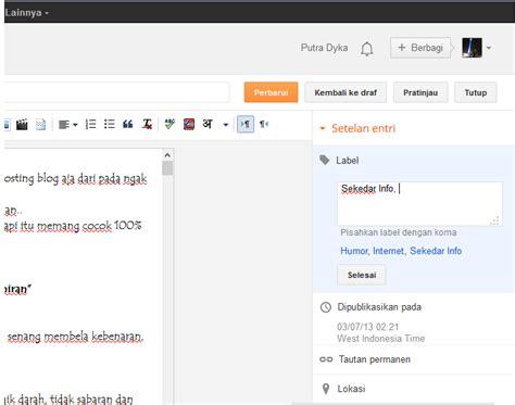 cara membuat nama blog bergerak di tab menu cara membuat postingan pada menu blog putra dyka