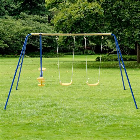 childrens swing seats costway metal a frame four seat swing set play chair