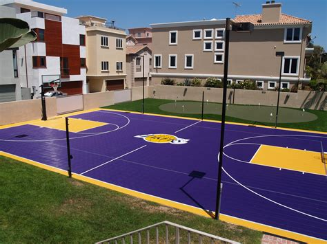 Design Your Own Basketball Court | lakers fan check out this backyard dream court go purple
