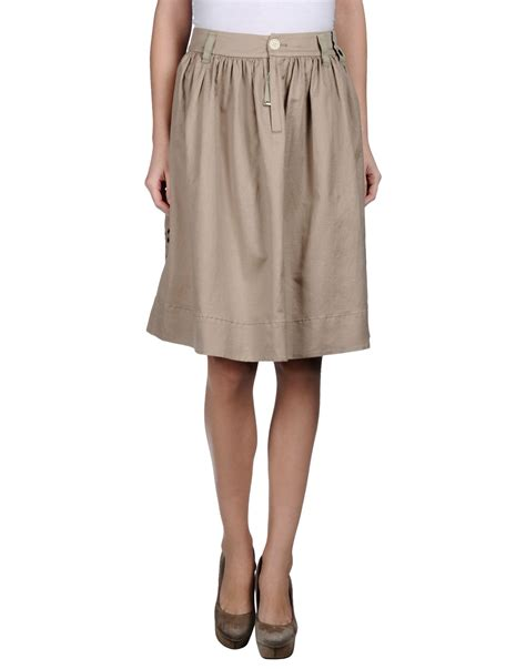 high knee length skirt in beige save 71 lyst