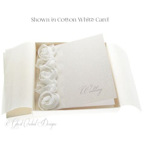 how to make a fabric covered wedding card box corsage wedding invitation boxed white fabric ruffles goin022 163 3 95 ghost orchid