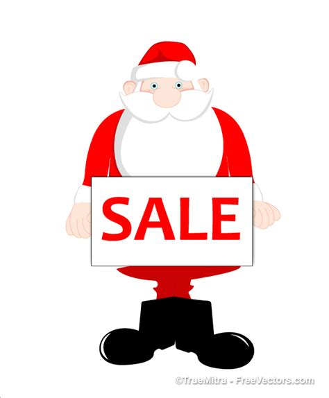 cute santa holding sale tag vector free download