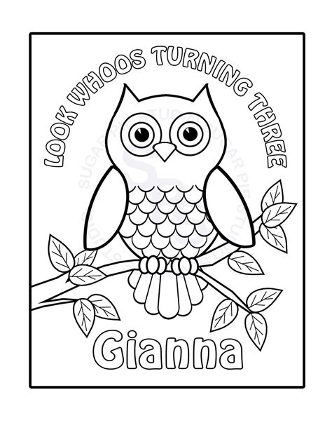 Owl Birthday Coloring Page | personalized printable owl birthday party favor childrens kids