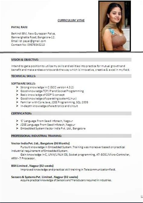 latest resume format in india normal resume format normal resume