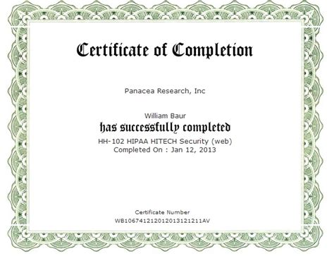 hipaa certificate template certificates