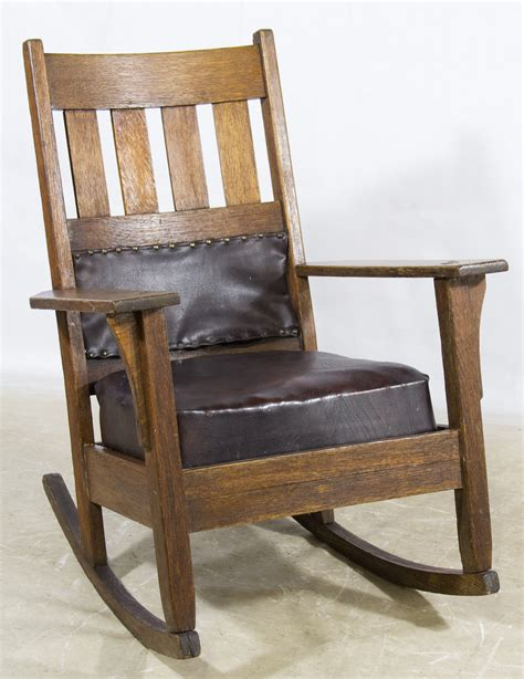 stickley mission style rocking chair lot 138 stickley style mission oak rocking chair