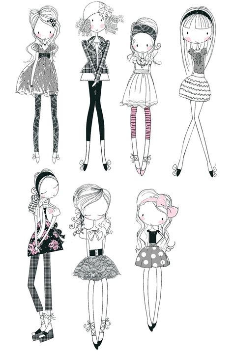 doodle draw style all about surface pattern textiles and graphics girly