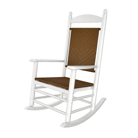 White Rocking Chair Outdoor by Shop Polywood White Tigerwood Recycled Plastic Woven Seat