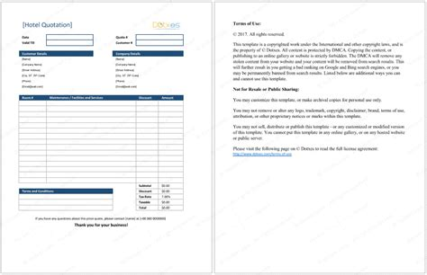 excel format quotes hotel quotation format for excel quotation templates