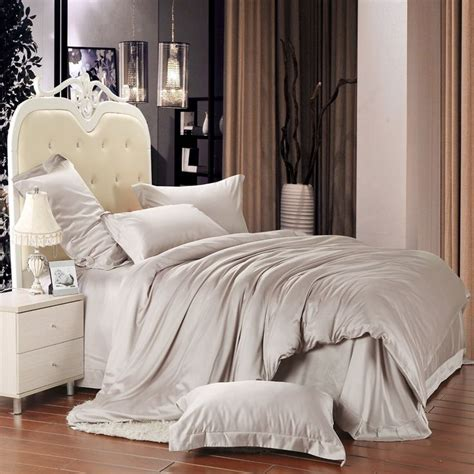 light grey solid pure color simply shabby chic full queen size 100 tencel lyocell bedding sets