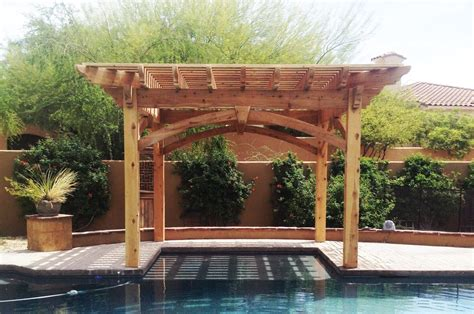 Backyard Shade Structures Shaded Swimming Pool Timber Frame Diy Pergola Kit